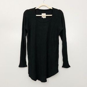Chaser Brand Black Waffle Knit Thermal Layer Top